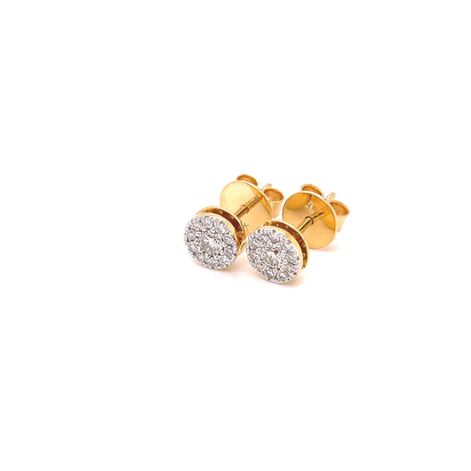 18K YG  Prong Set Centre Small Solitaire Women Diamond Stud Earring-1Pair