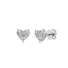Load image into Gallery viewer, 18K WG Pressure Set Heart Pin Women Diamond Stud Earring-1Pair