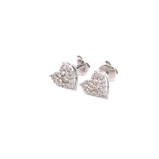 18K WG Pressure Set Heart Pin Women Diamond Stud Earring-1Pair