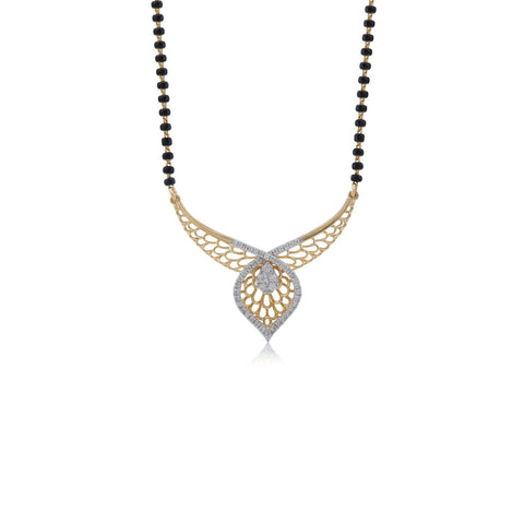 18K YG Prong Set Regular Women Diamond Mangalsutra-1Pc