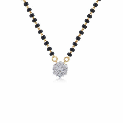 18K YG Pressure Set Classic Women Diamond Mangalsutra-1Pc