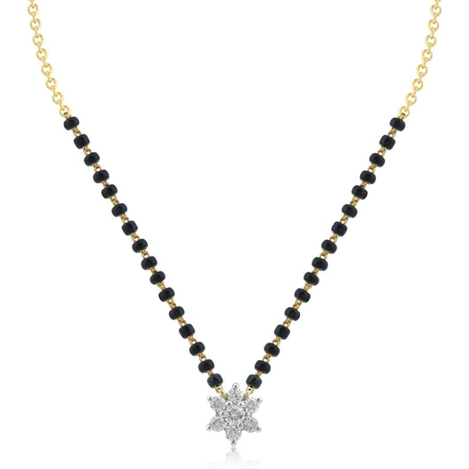 18K YG Prong Set Star Classic  Women Diamond Mangalsutra-1Pc