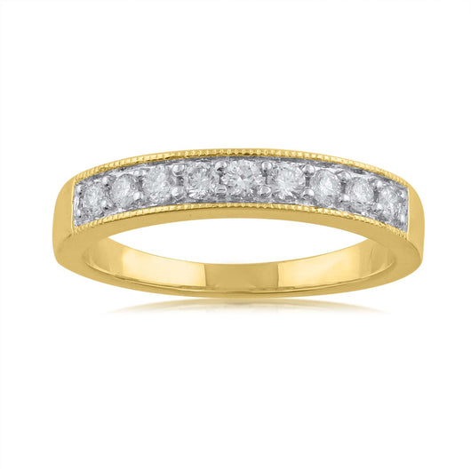 18K YG Grain Set Band Women Diamond Ring-1pc