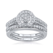 Load image into Gallery viewer, 18k WG Prong Set Centre Pressure Halo Bridal Double Diamond Ring-1pc