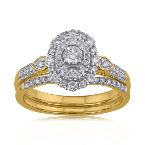 18K YG Prong Set Centre Solitaire Halo Bridal Double Diamond Ring-1pc