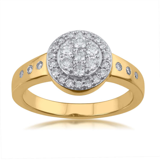 18K YG Centre Prong Set Flower Halo Women Diamond Ring-1PC