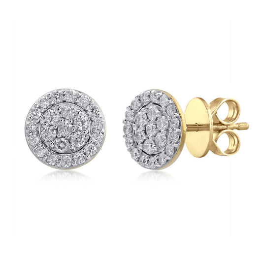 18K YG Centre Prong Halo Women Diamond Stud Earring-1Pair