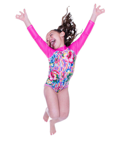Girls Hawaiian Mini Stretcheyz: Long Sleeved Surf Suit and Sun Protection