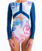 Womens Flower Stretcheyz: Long Sleeved Surf Suit and Sun Protection