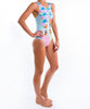 Womens Pineapple Cheeky Cut Stretcheyz: Sleeveless Surf Suit and Sun Protection
