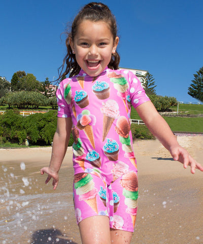 Girls Ice Cream Mini Stretcheyz: Short Sleeved Surf Suit and Sun Protection