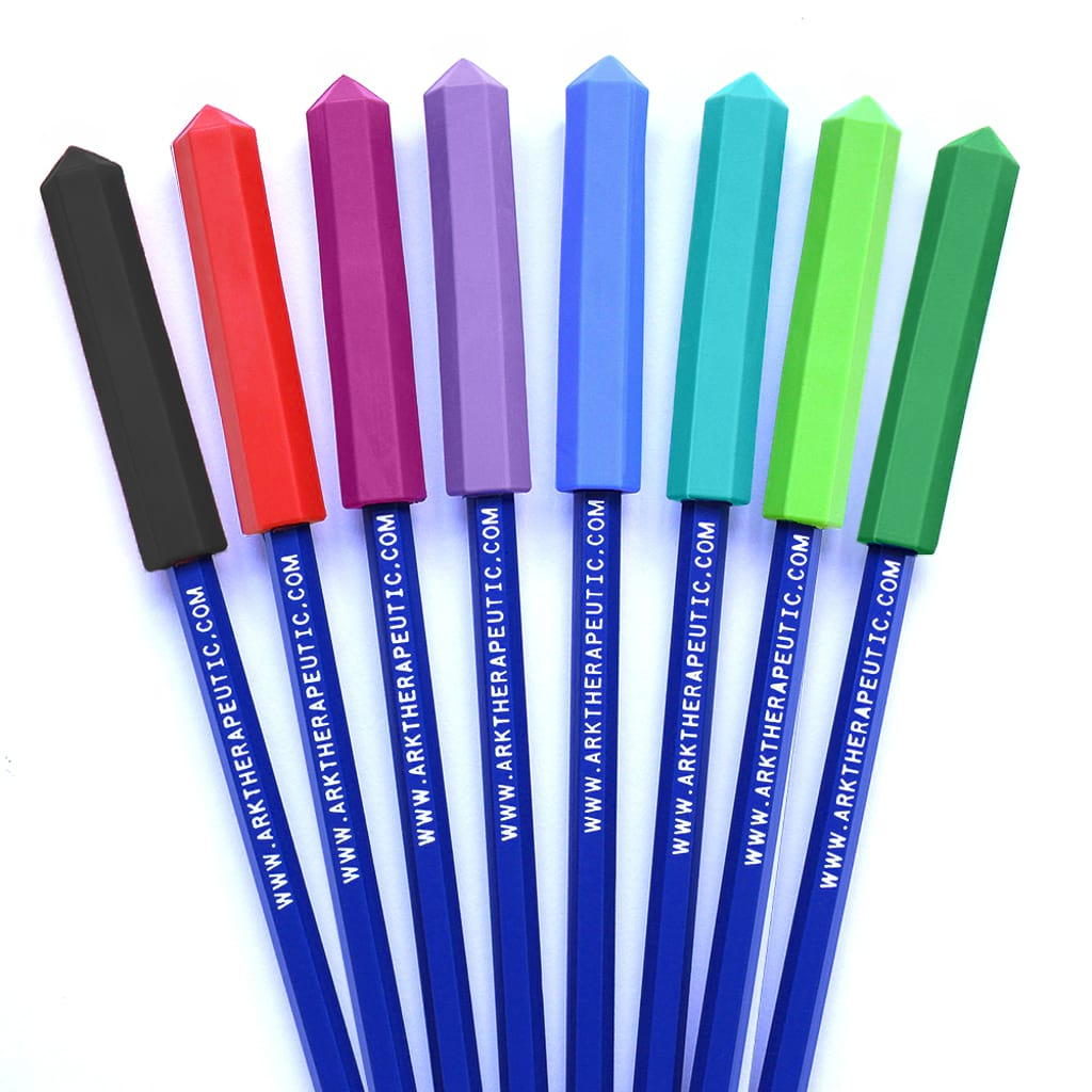 Ark's krypto bite chewable pen toppers and pens in 8 colors and 3 toughness levels