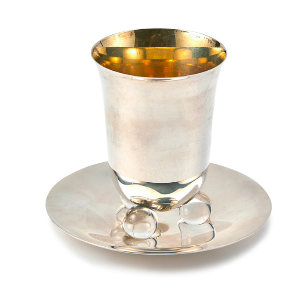 Silver Kiddush Goblet with Glass Marbles By Israel Dahan