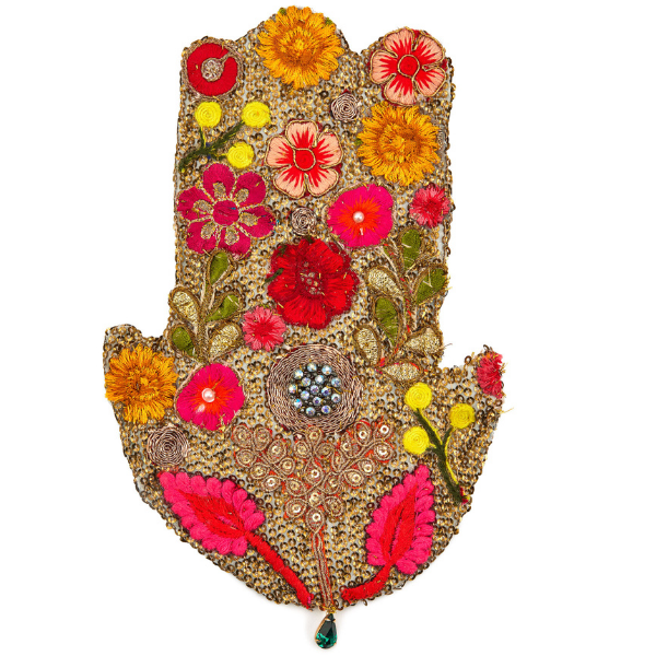 Floral Collage Hamsa by Laura Burch