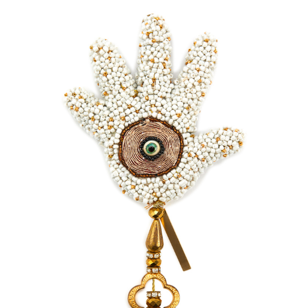 White Beaded Hamsa by Laura Burch