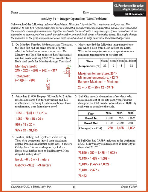 1 of 4 sample answer key pages from DynaNotes Grade 6 Math Review & Intervention Program for STAAR Eligible TEKS