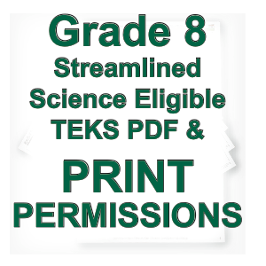 PDF & Print Permissions, Grade 8 Science Streamlined SCNs