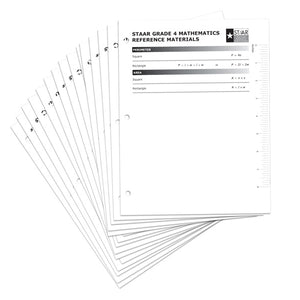 TEA Grade 4 Math Reference Chart 30-Pack