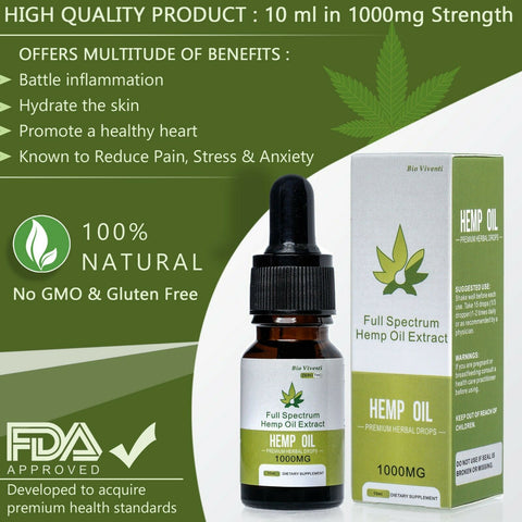 Bio Viventi Pure Organic Hemp Oil Drops Full Spectrum 1000mg 10 Ml 300 Drops