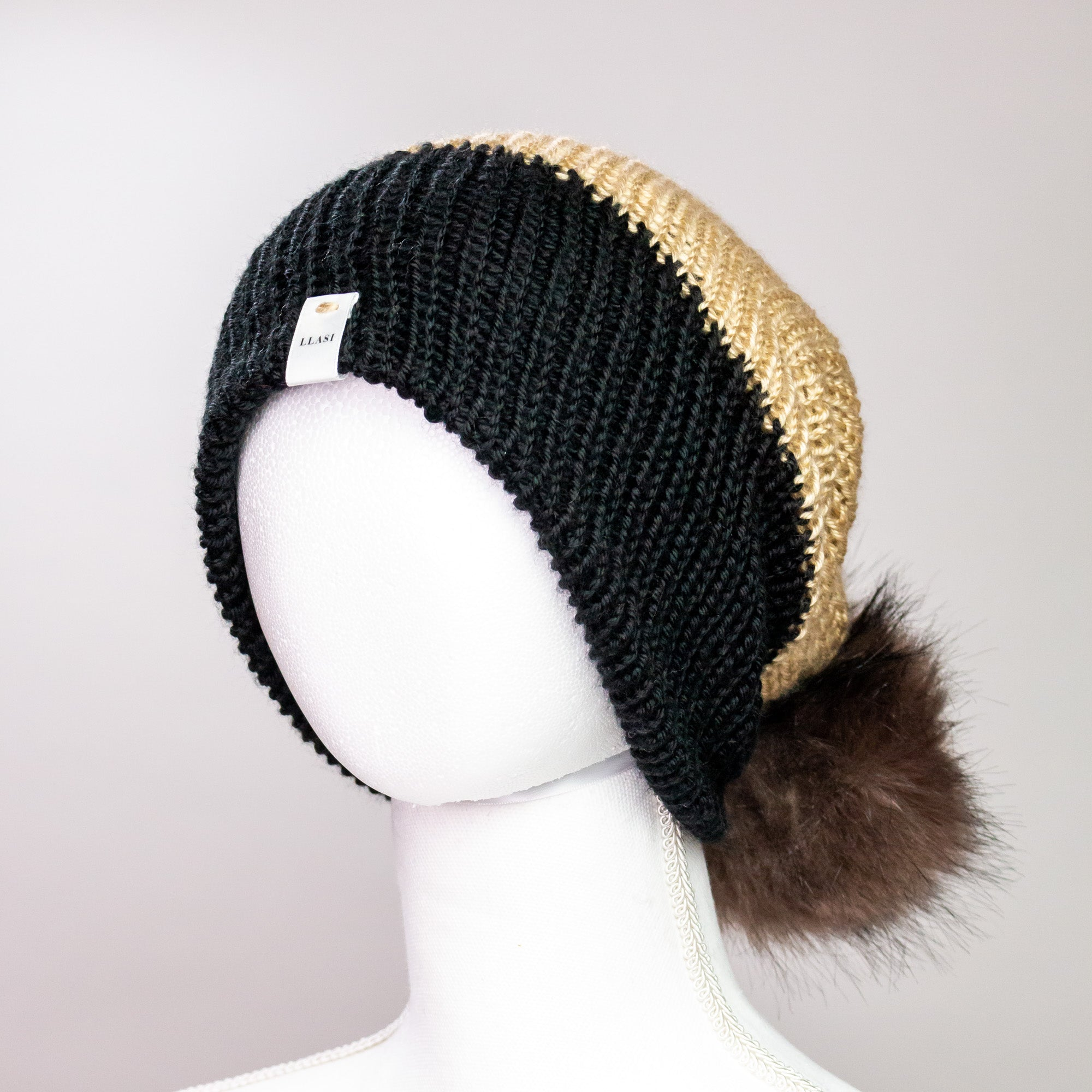 Black and Almond Cuff Pom Beanie