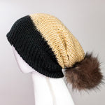 Load image into Gallery viewer, Black and Almond Cuff Pom Beanie