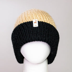 Black and Almond Cuff Beanie