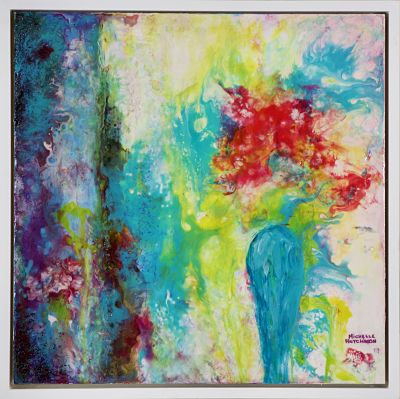 Offbeat and playful, this joyful original painting uses a technique called acrylic pouring. The red flowers sit within a teal vase beside blue drapes, inviting the viewer to gaze into the heart of love. It has a glossy finish.