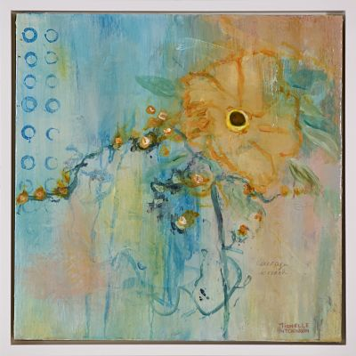 This original abstract flower painting in gold, teal, and green is sweet and simultaneously quirky with a vintage vibe. It has a glossy finish.  Shipping: Free Shipping in North America until December 20.  Taxes: No tax!  Frame: Includes a custom white floating frame creating a contemporary vibe.   Inspirations: All my paintings are inspired by life events, my personal reflections, and the natural world outside my rural studio window.