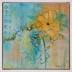 Load image into Gallery viewer, This original abstract flower painting in gold, teal, and green is sweet and simultaneously quirky with a vintage vibe. It has a glossy finish.  Shipping: Free Shipping in North America until December 20.  Taxes: No tax!  Frame: Includes a custom white floating frame creating a contemporary vibe.   Inspirations: All my paintings are inspired by life events, my personal reflections, and the natural world outside my rural studio window.