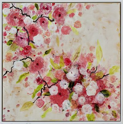 Fresh and joyful, this original painting with its red, coral and bright white abstract flowers against a warm white background would make a lovely addition to any master bedroom, dining room, or hallway. High gloss finish. Frame: Includes Custom White Floating Frame and pre-mounted wires. Free shipping in N.A. No tax!