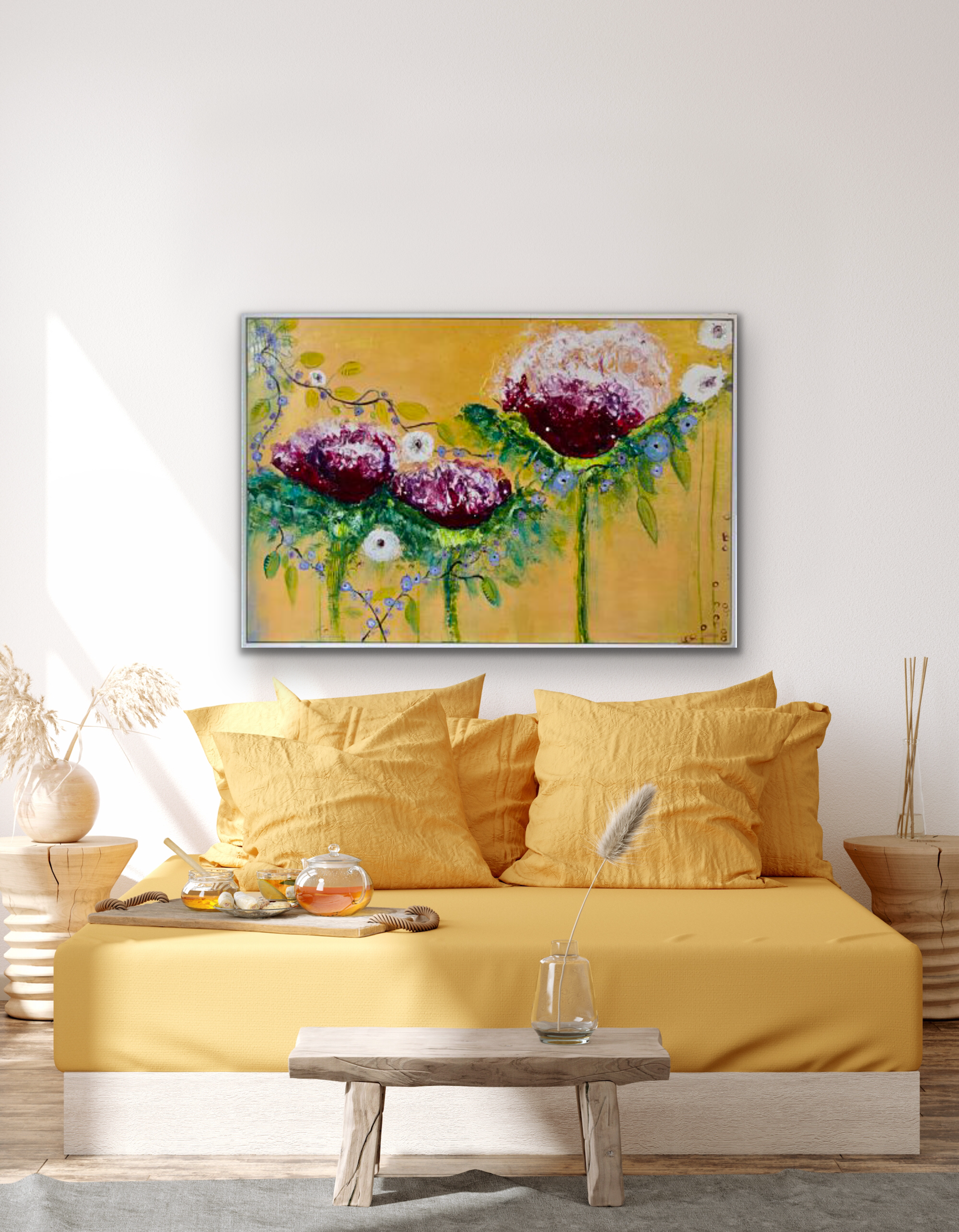 A strong abstract flower original painting for over a sofa or on its own in a dining room or hallway. Large  playful cerise flowers are intertwined with small lavender flowers against a  gold metallic background displayed in a bedroom setting.