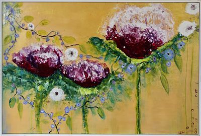 A strong original abstract flower painting for over a sofa or on its own in a dining room or hallway. Large playful cerise flowers are intertwined with small lavender flowers against gold metallic background. High gloss finish. Includes Custom White Floating Frame and pre-mounted wires. Free shipping in N.A. No tax!