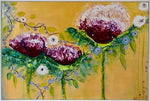 Load image into Gallery viewer, A strong original abstract flower painting for over a sofa or on its own in a dining room or hallway. Large playful cerise flowers are intertwined with small lavender flowers against gold metallic background. High gloss finish. Includes Custom White Floating Frame and pre-mounted wires. Free shipping in N.A. No tax!