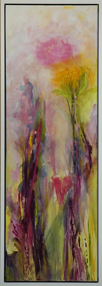 This original mixed media painting reflects the heartbeat of love. Botanicals reaching for the sky! Created for narrow spaces that are looking for a spark of joy. Light gloss finish. Includes Custom White Floating Frame, bumper pads, and pre-mounted wires. Shipping: Free shipping in N.A. No tax!