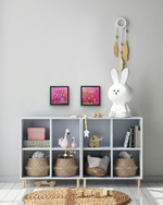 Load image into Gallery viewer, Displayed on a light grey wall in a children's room.