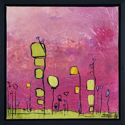 Quirky abstract flowers in vibrant of yellows and greens colours with soft pink background in this original painting. It is joyful and evokes joy in sharing our lives with special people. Groups well with Reaching for You. Includes black floating frame, bumper pads, and pre-mounted wires. Free shipping in N.A.! No tax!
