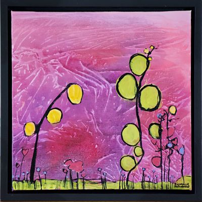 Quirky abstract flowers in vibrant of yellows and greens colours with soft mauve and pink background in this original painting. It is joyful and evokes joy in sharing our lives with special people.  Grouping: Groups well with Reaching for Love. Free shipping in N.A. No tax!