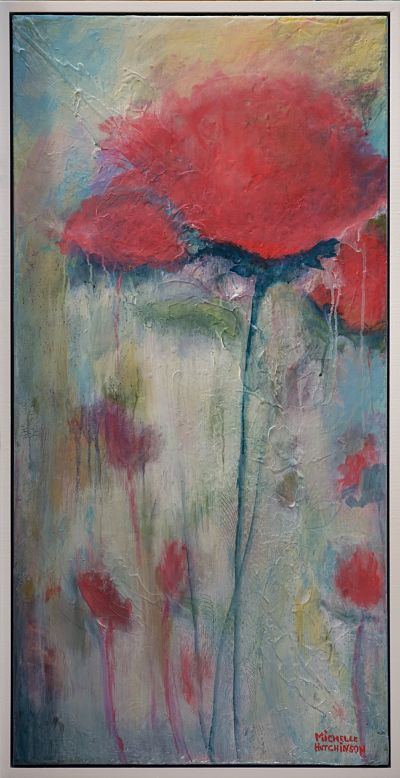 Quiet and tonal, this soft focus original painting speaks of serenity with its muted red and soft blue greens. Lovely in a hallway or study. Satin finish. Includes Custom White Floating Frame, bumper pads, and premounted wires. Free shipping in N.A. No tax!