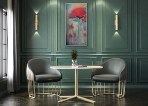 Quiet and tonal, this soft focus original painting speaks of serenity with its muted red and soft blue greens displayed on a muted green wall in a sophisticated breakfast area.