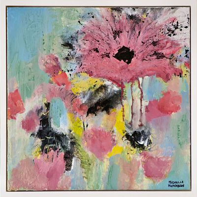 Funky large pink blossom and teal background invites a feeling of joy shared with friends. Includes Custom White Floating Frame, bumper pads, and pre-mounted wires. Fluid acrylics and mixed media on wood panel.  Free shipping in N.A. No tax!