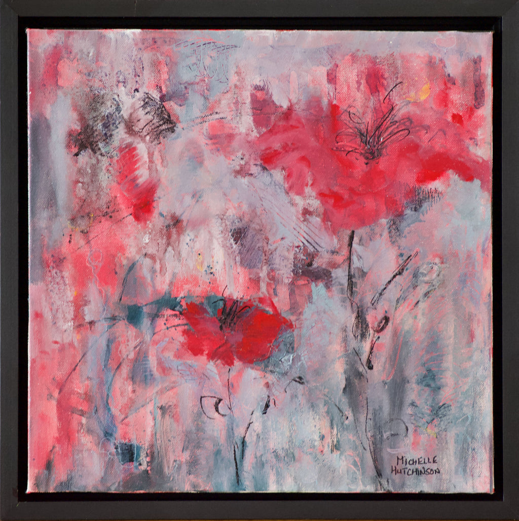 This original painting exudes excitement with its red abstract flowers on a grey and coral background and invites the viewer to be positive no matter the weather. Glossy finish. Includes black floating frame, bumper pads, and pre-mounted wires. Free shipping in N.A. No tax!