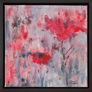 This original painting exudes excitement with its red abstract flowers on a grey and coral background. Glossy finish.  Frame: Custom Black Floating Frame comes with bumper pads to protect your walls and premounted wires ready for immediate hanging!  Shipping: Free shipping in North America until December 20th.  Taxes: No tax!