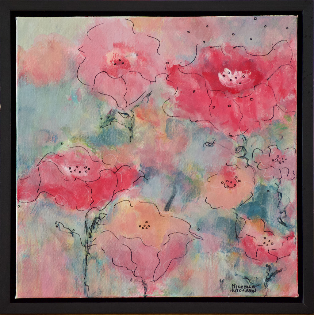 Abstract flowers in reds, pinks, and corals against a background of blue greens is bursting with colourful personality in this original painting!   Frame: Custom Black Floating Frame comes with bumper pads to protect your walls and premounted wires ready for immediate hanging!  Shipping: Free shipping in North America until December 20th.  Taxes: No tax!
