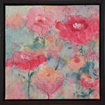 Load image into Gallery viewer, Abstract flowers in reds, pinks, and corals against a background of blue greens is bursting with colourful personality in this original painting! Includes black floating frame, bumper pads, and pre-mounted wires. Free shipping in N.A.! No tax!