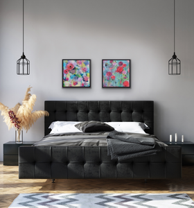 Painting shown above a grey bed. Paired with Melody of Spring