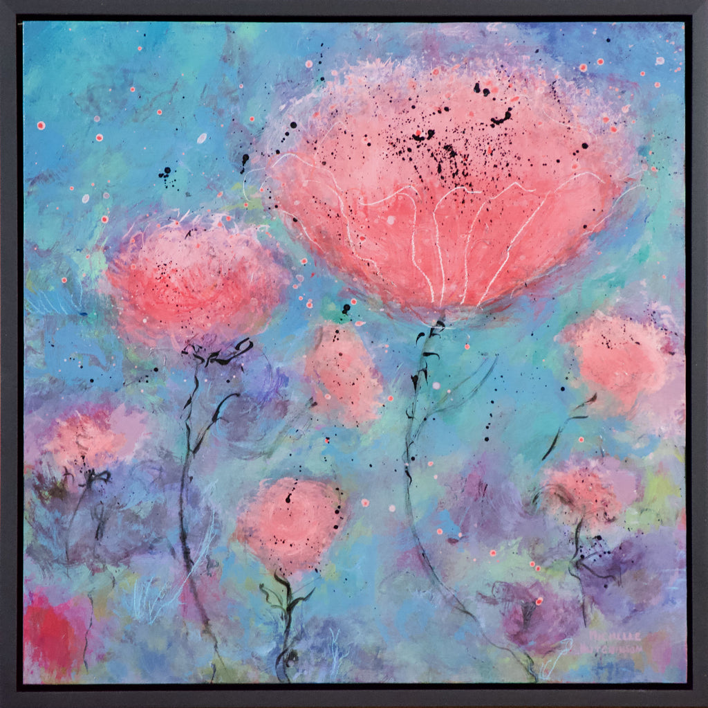 Joyful coral, pink, and purple flowers float upwards into a blue and teal sky.