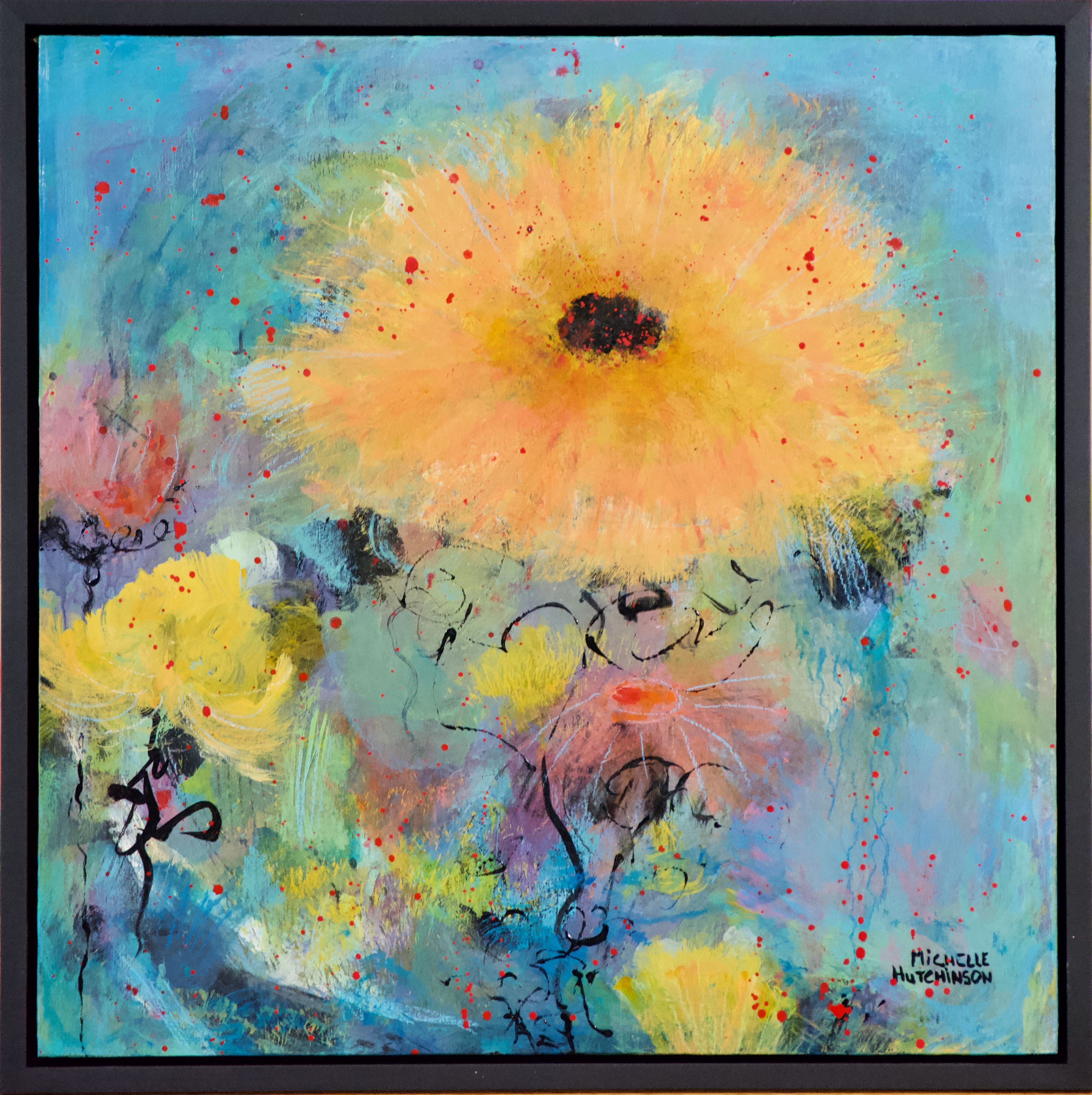 Gorgeous yellow and gold blossom against a blue and green background. This painting is full of expressive mark making. So much fun!