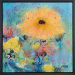 Load image into Gallery viewer, Gorgeous yellow and gold blossom against a blue and green background. This painting is full of expressive mark making. So much fun!
