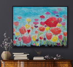 Load image into Gallery viewer, Large art shown above a console table on a grey wall