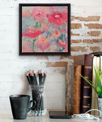 Load image into Gallery viewer, Displayed on a white brick wall above a desk. Abstract flowers in reds, pinks, and corals against a background of blue greens is bursting with colourful personality in this original painting!